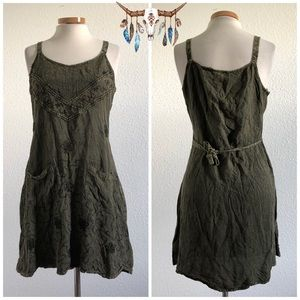 Vintage | Green Boho Embroidered 90's Tank Dress